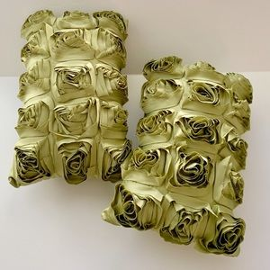 Other - Set/2 Shabby Chic Peony Raw Edge Pillows